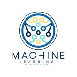 Machine learning icon in circle shape. Computer science and artificial intelligence development. Modern tech. Flat. Machine learning icon in circle shape Royalty Free Stock Images