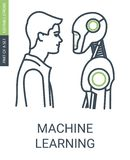 Machine Learning Icon With Editable Stroke and Outline Style. royalty free illustration