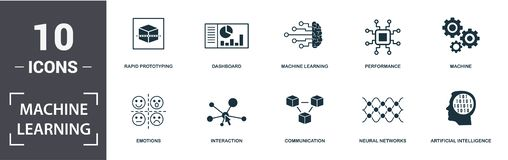 Free Machine Learning Icon Set. Contain Filled Flat Machine Learning, Machine, Dashboard, Artificial Intelligence, Emotions Royalty Free Stock Photography - 158936287