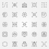 Machine learning icons set. Vector artificial intelligence and o Royalty Free Stock Photo