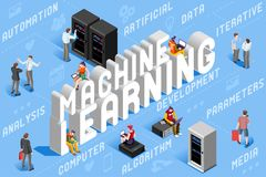 Machine Learning Illustration Artificial Intelligence. Machine learning illustration. New technology for robots. 3D vector design Vector Illustration