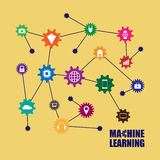 Machine learning and internet of things. Vector illustration Royalty Free Stock Photos