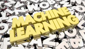 Machine Learning Letters Words Artificial Intelligence. 3d Illustration Stock Photography