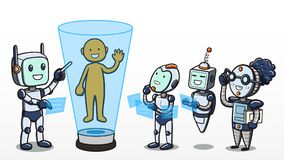 Machine learning - Robots learning about human body. Vector illustration of the concept of machine learning, depicting one android teaching a group of robots Stock Illustration