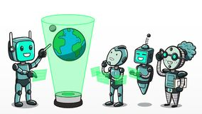 Machine learning - Robots learning about planet earth. Vector illustration of the concept of machine learning, depicting one android teaching a group of robots Vector Illustration