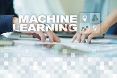 Machine Learning. Text and icons on virtual screen. Business, internet and technology concept. royalty free stock images