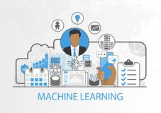 Machine learning vector illustration with business man and icons.