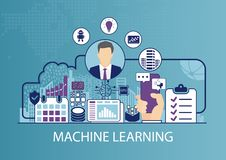 Machine learning vector illustration with business man and icons royalty free illustration