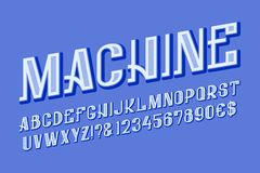 Machine letters, numbers and currency signs. Isolated english alphabet.  stock illustration