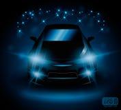 Machine lights. Black car on night field lights flash blue, eps 10 Stock Photo