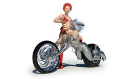Machine_love. Man android machine with female biker Stock Image