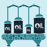The machine makes barrels of oil. Oil production. Stock Images