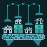 The machine makes a home from dollar bills. Investments in real estate, buying a home, mortgages stock illustration