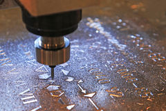 Machine for milling marks on metal Stock Image