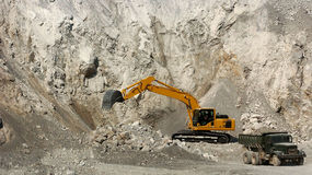 Machine. Mining machine, stone quarry. mine Stock Images