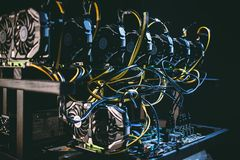 Machine for monetization of bitcoins. A small machine for monetizing bitcoins royalty free stock photo