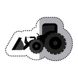machine monochrome de bâtiment de chargeur de tracteur d'autocollant Photographie stock