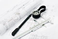 Machine part and penwith caliper, blueprint Stock Photos