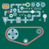 Machine parts different mechanism vector mechanical manufacturing work detail design gear equipment industry technical. Machining engine illustration royalty free illustration