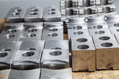 Machine parts. Machinery parts out of CNC drilling machine Stock Photo