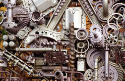 Machine parts and pieces. View of an artistic assembly of machine parts stock photo