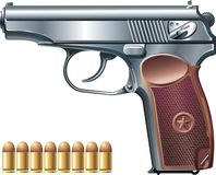 Machine pistol and ammunition. Background with machine pistol and ammunition Royalty Free Stock Photo