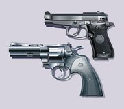 Machine pistol and revolver. Stock Images