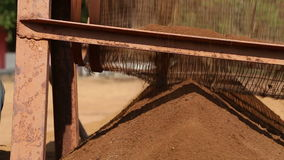 Machine processing soil by movement of wheel. stock video footage