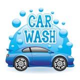 Machine propre de Washington de véhicule, lavage de voiture avec l'éponge et boyau illustration stock