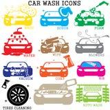 Machine propre de Washington de véhicule, lavage de voiture avec l'éponge et boyau illustration libre de droits