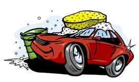Machine propre de Washington de véhicule, lavage de voiture avec l'éponge et boyau illustration de vecteur