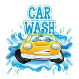 Machine propre de Washington de véhicule, lavage de voiture avec l'éponge et boyau Photo stock