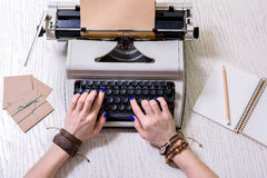 Machine for quick writing at table Royalty Free Stock Photos
