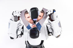 Machine is ripping picture of guy royalty free stock image