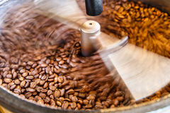 Machine for roasting coffee close up, shot with motion blur. Stock Images