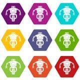 Machine robot icon set color hexahedron. Machine robot icon set many color hexahedron isolated on white vector illustration Royalty Free Stock Photo