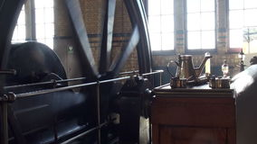 Machine room of historic steam pumping station stock footage
