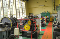 Machine room of the old power plant Stock Photos