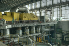 Machine room. In thermal power plant Royalty Free Stock Image