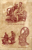 Machine for rubbing the chest and abdomen. Special machines from the beginning of the century Vector Illustration