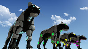 Machine sci-fi panthers 3D rendering. A 3D rendering of black artificial panthers in the dessert. The sci fi animals stands in a row with glowing colored laser vector illustration