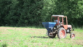 Machine seed sow field Stock Image