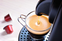 Machine serving espresso coffee top view Royalty Free Stock Image