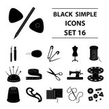 Machine, sewing, scissors and other sewing equipment. Medical,medicine set collection icons in black style vector symbol Royalty Free Stock Photography