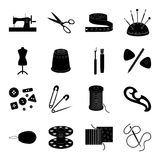 Machine, sewing, scissors and other sewing equipment. Medical,medicine set collection icons in black style vector symbol Stock Images