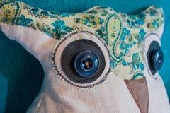 Machine sewn DIY owlet pillow royalty free stock photos