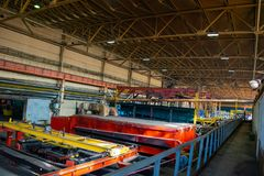 Machine shop of metallurgical works indoors room. Shop blacksmithing plant. Industrial tourism royalty free stock images