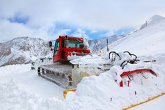 Machine for skiing slope preparations at Kaprun Austria Royalty Free Stock Photo