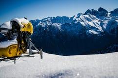 Machine On Snowy Mountain royalty free stock photo