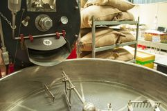 Machine for sorting coffee beans at a coffee factory.  stock images
